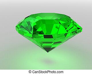 Dark-green gemstone rendered with soft shadows