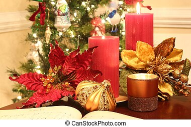 Christmas candles - A Christmas decoration of lit candles,...