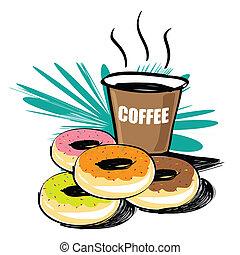 jogo, donut, vetorial, mão, desenhado