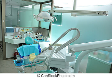 dental care - instruments and chair of a dental center
