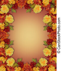 Fall Leaves and Flowers border - Image and illustration...