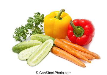 colorful vegetables ,food ingredient on white background