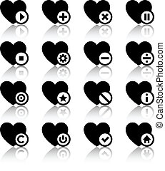 Icons set - black hearts
