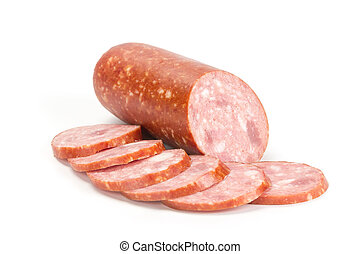 Smoked sausage with sliced pieces isolated on white...
