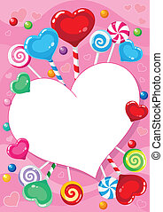 valentines card with candy - illustration of a valentines...