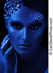 Portrait of woman with artistic make-up - Blue portrait of...