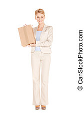 woman with cardboard box - picture of happy woman with...