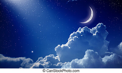 Beautiful night - Peaceful background, blue night sky with...