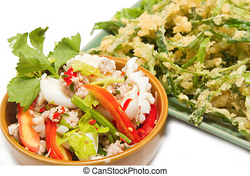 Crispy deep fried morning glory with spicy seafood salad