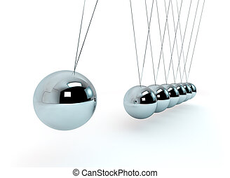 Newton Cradle - 3D Illustration Newton Cradle Isolated on...