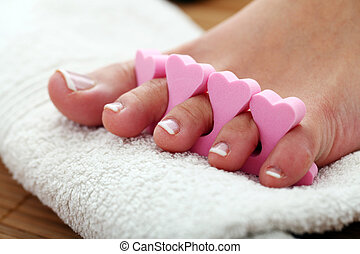 Beautiful foot with french pedicure