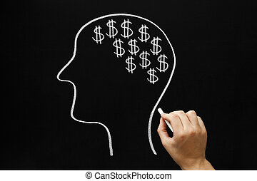 Money On My Mind - Hand drawing Human head and many dollar...
