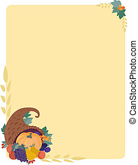 Pumpkin Border - An autumn background featuring a cornucopia...