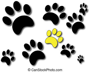 PawPrints - Black Paw Prints with One Gold Print