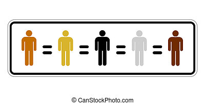 racial equality - traffic sign representing humans of...