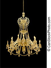Crystal Chandelier on a black background.