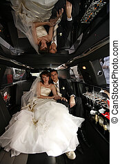 Newly married pair - Newly-married couple in car