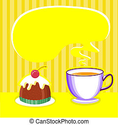 tea background with cup and sweet desert.Vector illustration for