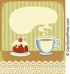 Vintage tea time background with sweet desert.Vector...
