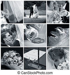 Collage of nine wedding photos in blue tone