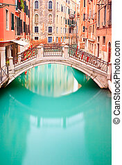Venice, Bridge on water canall Long exposure photography -...