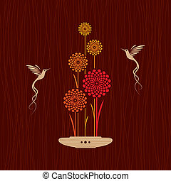 Card with birds and flowers