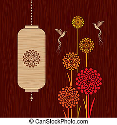 Card with birds, flowers and lanter