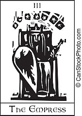 Empress Tarot Card - Woodcut expressionist style image of...