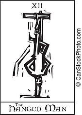 Tarot Card Hanged Man - Woodcut expressionist style Tarot...
