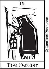 Tarot Card Hermit - Woodcut expressionist style Tarot card...