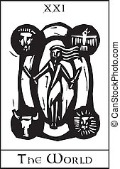 World Tarot Card - Woodcut expressionist style image of the...