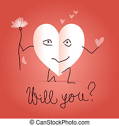 Will you be my valentine - Paper heart shaped character on...