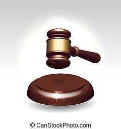 Wooden gavel as justice services symbol - Wooden gavel with...