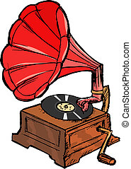 phonograph - hand drawn, vector, sketch illustration of...