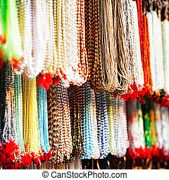 Indian beads in local market in Pushkar. Rajasthan, India,...