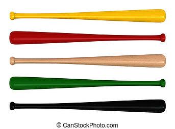 Bat - 3d render of baseball bats isolated over white...