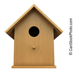 Birdhouse - 3d render of wooden birdhouse isolated on white...