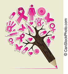 Breast cancer awareness education concept pencil tree....