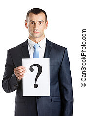 Businessman hands paper with question mark