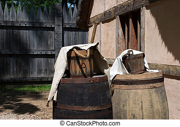 Old farm - Old buckets and barrels in Jamestown, Virginia