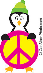 Penguin Holding a Peace Sign - A cute penguin holding a...