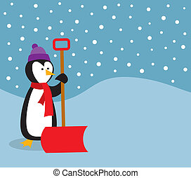 Penguin With Snow Shovel - A cute penguin out in the snow...
