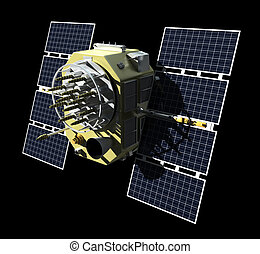 Satelite - 3d render of GPS satelite isolated on black...