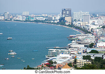 Pattaya Beach The building is next to the ocean One of the...