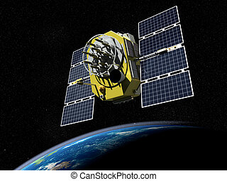 Satelite - 3d render of GPS satelite in orbit around the...