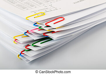 paper clips - Sheets of paper stapled staples in the stack