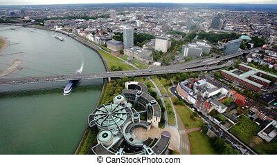 Aerial Panorama of the city Dusseldorf in Germany -...
