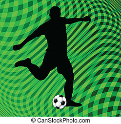 soccer player on green background