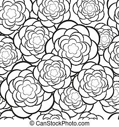 Seamless floral pattern Vector illustration in black and...