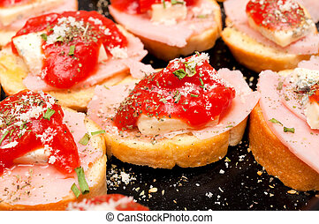 Bruschetta - Selective focus on the middle bruschetta